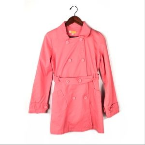 Anthropologie tulle trench coat large jacket pink